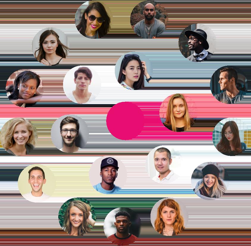 Nuage de photos de profile de consommateurs autour d'un point rose centré