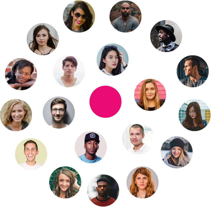Centered pink dot surrounded by consumers profile pictures
