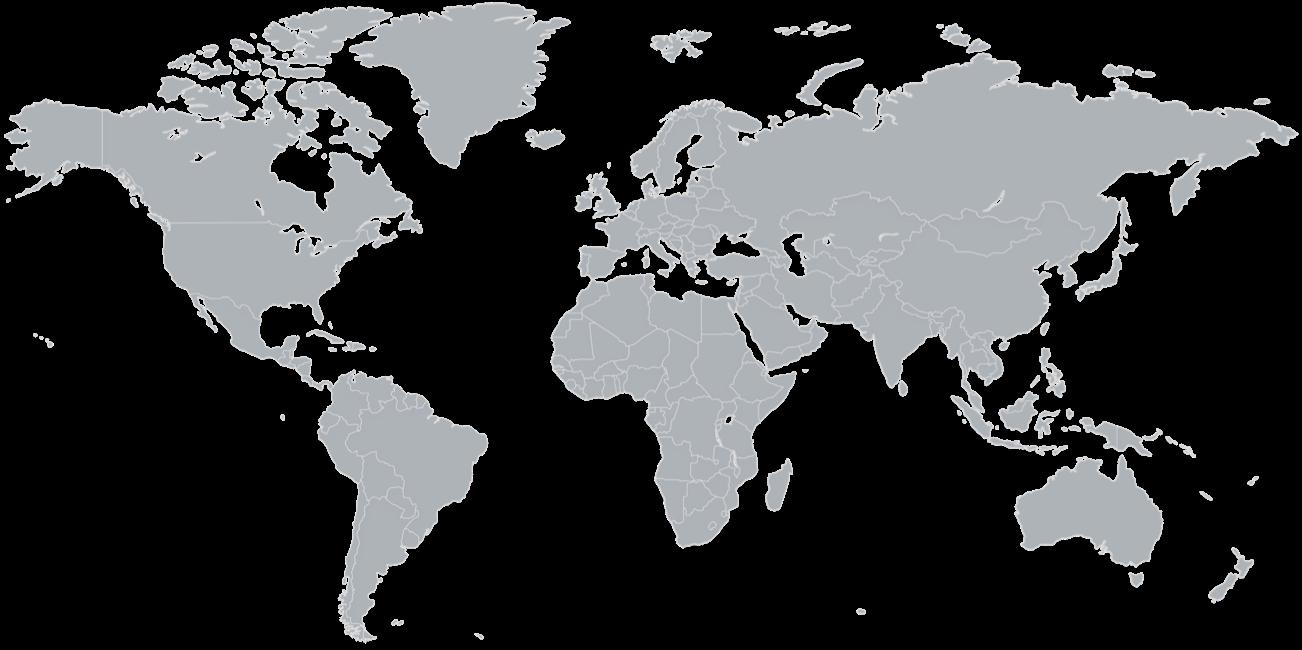 Carte mondiale avec localisations des bureaux Potloc indiqués