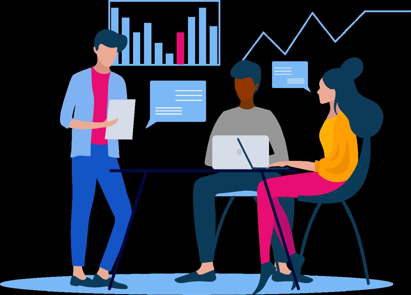 Illustrations de personnes travaillant sur leur ordinateur et interprétant des graphiques de données