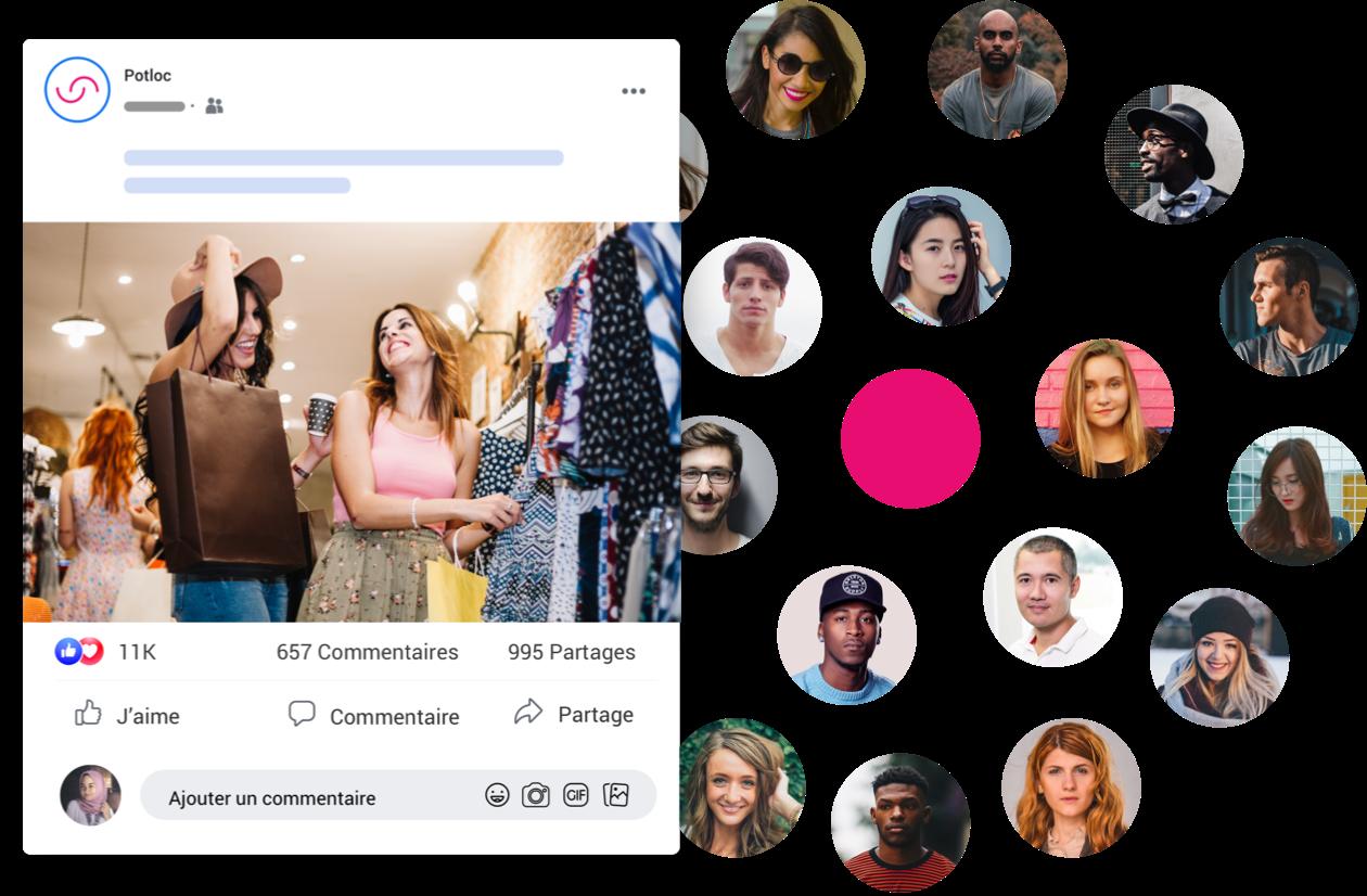 Exemple d'une publicité Facebook à coté d'un nuage de photos de profil centré autour d'un point rose