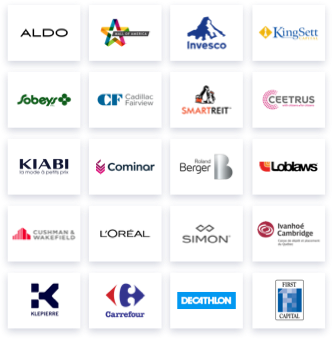 Logos of L'Oreal, Aldo, Mall of America, Invesco, Cushman & Wakefield, Decathlon, Sobeys, CF Cadillac Fairview, SmartReit,Simon, KingSett Capital, Kiabi, Cominar, Roland Berger, Klepierre, First Capital, Carrefour, Ceetrus, Loblaws, Ivanhoe Cambridge