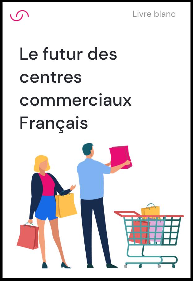 Page de couverture du whitepaper du futur des centre commerciaux français illustrant un couple de consommateurs faisant leurs courses avec un caddie