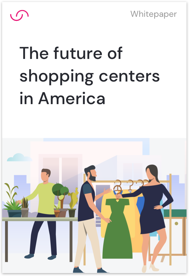 Cover of whitepaper for the future of shopping centers in America illustrating men and women clothes shopping in a store