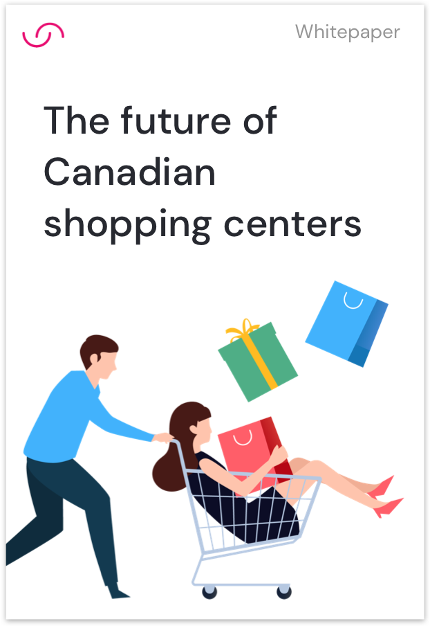 Cover of whitepaper for the future of Canadian shopping centers illustrating a women inside a shopping cart driven by a man