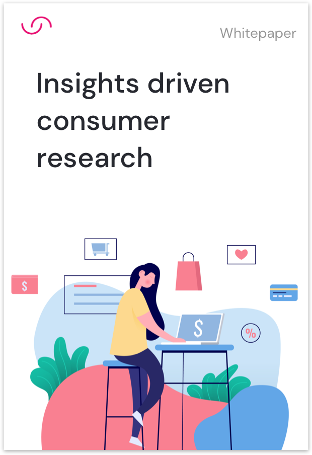 Cover of whitepaper for insights driven consumer research illustrating a women shopping online
